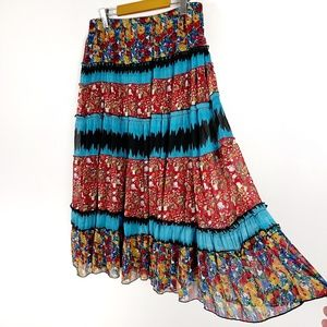 Notations Floral Tiered Midi Skirt Large